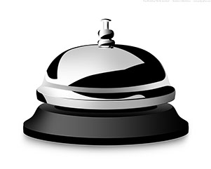 image of a service bell that sits on a desk
